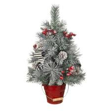 home accents holiday 24 in snowy pine tree in red metal bucket