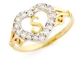 s ring 10k gold heart shape letter s initial cz ring jewelry from