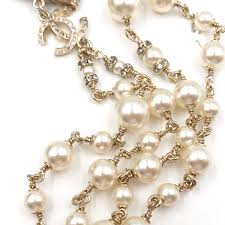 pearl bow necklace images Chanel gold cc bow crystal faux pearl long dangle necklace lar jpg