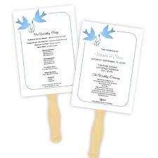 Program Fan Template Wedding Program Fan Template Blue Doves Silhouette Diy