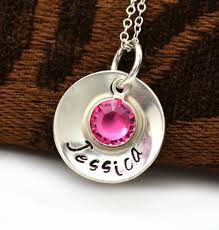 Stamped Name Necklace Personalized Mommy Necklace Personalized Birthstone Necklace