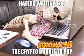 Waiting Meme - waiting for the crypto bubble to pop skeleton bitcoin meme
