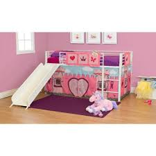 girls u0026apos fairytale twin loft bed with slide white walmart com