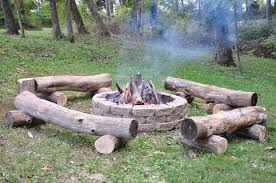 Firepit Logs Pit With Primitive Log Benches Leisure Pinterest