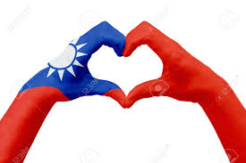 Flag Taiwan Hands Flag Of Taiwan Shape A Heart Concept Of Country Symbol