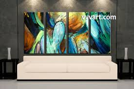Living Room Paintings 4 Piece Colorful Canvas Abstract Modern Oil Paintings Art