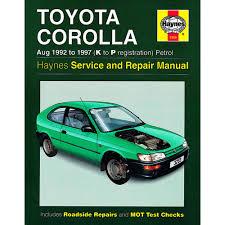 toyota corolla 1 3 1 6 1 8 petrol 1992 97 k to p reg haynes manual