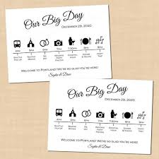 wedding itinerary for guests calligraphy wedding itinerary big day guest timeline schedule