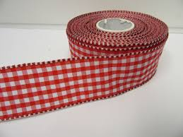 gingham ribbon 2 metres or roll x 38mm wired florist gingham ribbon