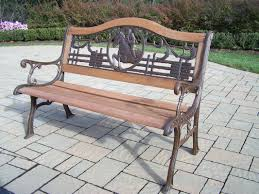 iron park benches oakland living horse wood and cast iron park bench reviews wayfair