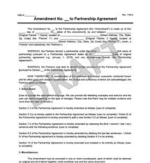 create an amendment to a partnership agreement legal templates