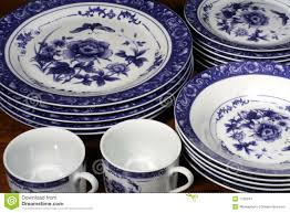 blue and white dinnerware royalty free stock photography image
