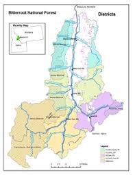 bitterroot mountains map bitterroot national forest districts