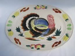 ceramic turkey platter painted thanksgiving turkey platter vintage japan