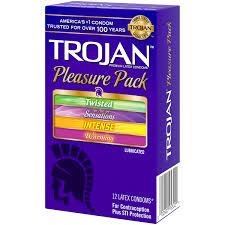 trojan pleasure pack lubricated premium latex condoms 12 ct