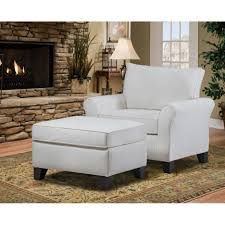 White Leather Chair With Ottoman White Leather Chair With Arm Rest Combined With Block Ottoman And
