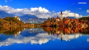 lakes nature autumn houses reflections lakes trees amazing