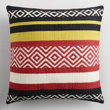 World Market Outdoor Pillows by Very Goods Warm Striped Embroidered Indoor Outdoor Throw Pillow