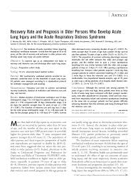 ventilator weaning protocol recovery rate and prognosis in older persons who develop acute