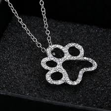 black white crystal necklace images Plated black and white crystal rhinestone dog paw jpg
