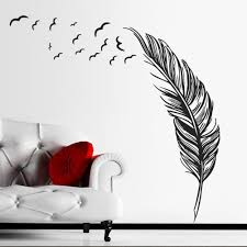 orderin christmas gift wall decal hand made abstract black feather orderin christmas gift wall decal hand made abstract black feather fly left removable mural wall stickers for home living room decoration amazon com