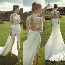 wedding dresses high gorgeous high neck sleeve see through lace top side slit