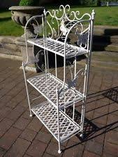 etagere shabby patio garden plant stand wood white dec balcony 3 tier etagere