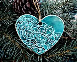 set of five lace ornaments malachite green edged