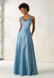 satin bridesmaids dress with v neck and pockets style 21525