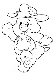 care bears wearing cowboy hat colouring happy colouring