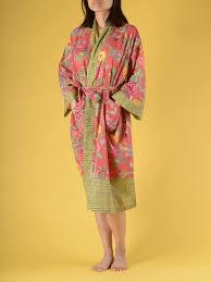 kimono robe de chambre femme kimono coton femme floral corail peignoir robe de chambre