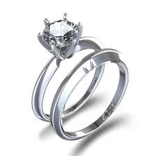 wedding set 1 4 ctw classic six prong wedding set in 14k white gold