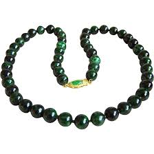 jade bead necklace images Stunning rare vintage 14kt inky imperial green jade bead necklace jpg