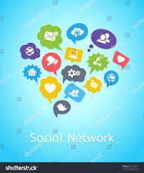 set social network icons on clouds stock vector 191535377