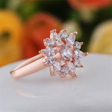 engagement rings size 8 snowflake 18k gold plated clear cubic zirconia engagement
