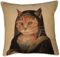mona cat susan herbert mona lisa cat tapestry cushion cover sham
