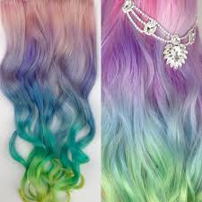Colored Hair Extension by Unicorn Hair Extensions Clip In Pastel Hair Extensions Full