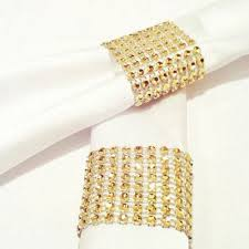 Bowring Home Decor by 50pcs Bling Rhinestone Napkin Chair Bow Ring Gold Silver Wedding