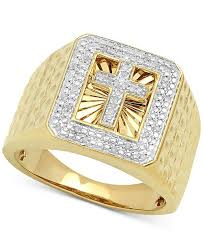 cross gold rings images Macy 39 s men 39 s diamond cross ring 1 10 ct t w in 10k gold plated tif