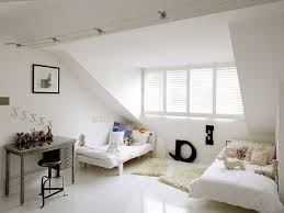 kids attic bedroom ideas modern low profile bed white wooden chest