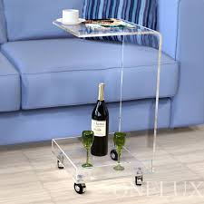 c table with wheels online shop c shaped waterfall acrylic occasional side tray table on