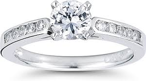 channel engagement ring channel set brilliant cathedral engagement ring us3070