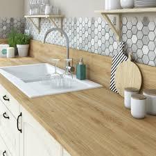 potager de cuisine plan de travail stratifié effet chêne naturel mat l 315 x p 65 cm