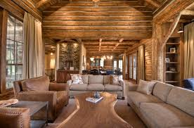 Rustic Living Rooms by Mountain Home Surrounded By Forest Offers Rustic Living In Montana