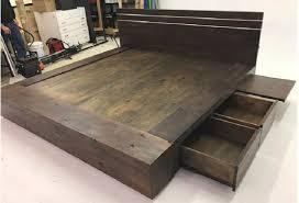 Custom Platform Bed Distressed Alder Platform Bed With Drawers And Pullout Shelves
