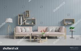 floor white wall blue living room stock illustration 713384443