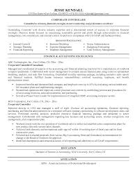 Sample Financial Resume by Sample Controller Resume Template Examples
