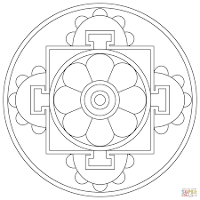 Simple Drawing Of Buddha Tibetan Mandala Coloring Page Free Buddhist Coloring Pages