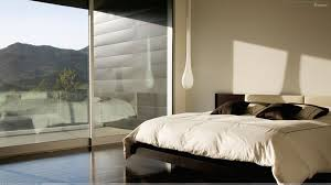 white and black interior in bedroom at hill side wallpaper