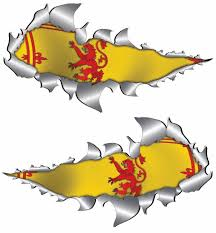 Lion Flag Small Rampant Lion Scotland Flag Metal Rip Open Sticker Totally